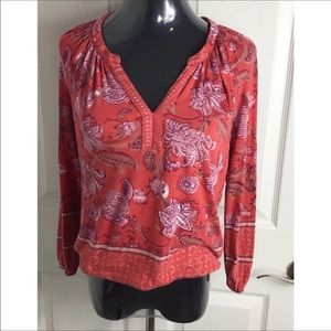Lucky Brand Red Floral Cotton Top